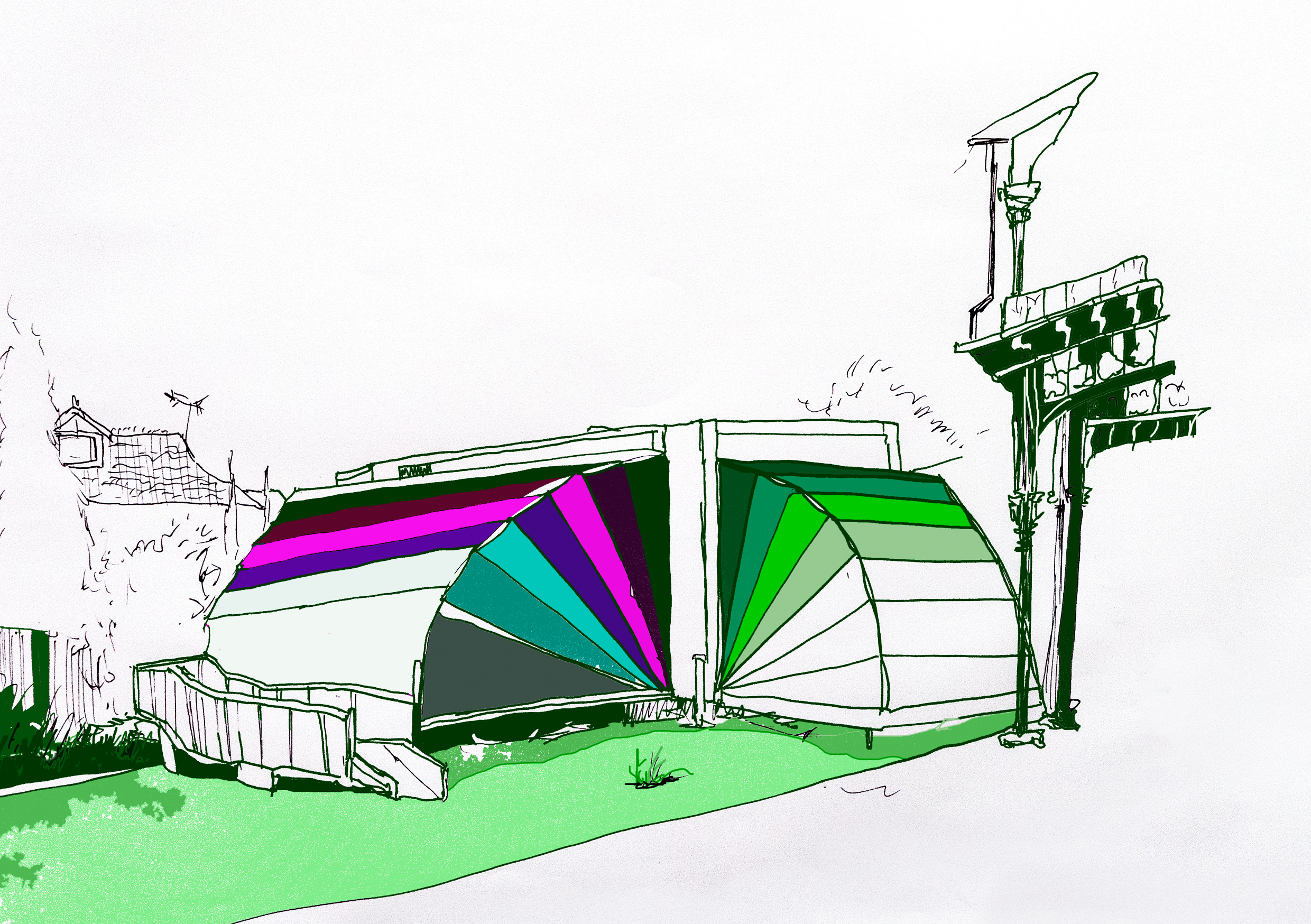 A drawing of Nebula, our Colourful, fully accessible portable arts space.