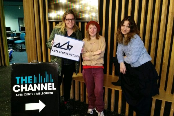 Three Nexus artists at the Art Centre Melbourne Channel.
