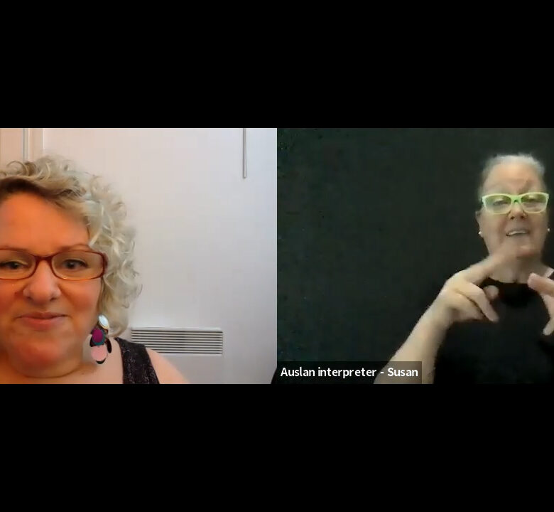 A screenshot of a Zoom video call with Caroline Bowditch, AAV's CEO, and the Auslan interpreter Susan.