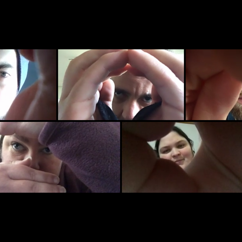 5 faces are looking through their hands.