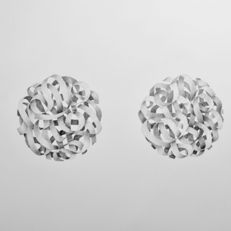 A drawing of many ribbons entwined, forming two spheres frozen in mid-air.