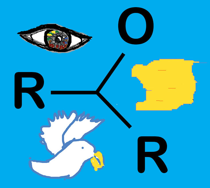 A digital drawing of a white bird, an eye a piece of land and the letters R, O and R on a blue background.