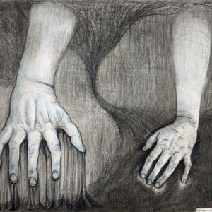 A drawing of two hands crawling.