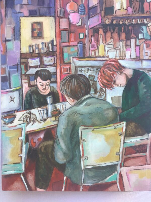 A painting of three people sitting around a table at a cafe.