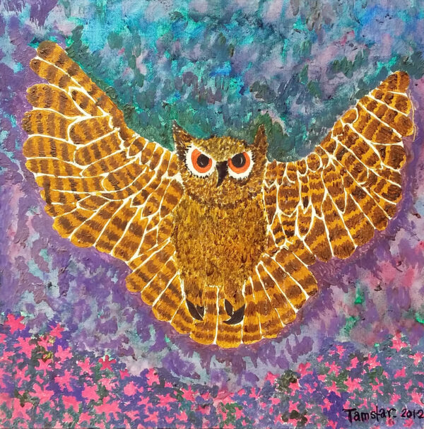 A drawing of an owl with its wings spread and a colourful background in tones of blue and purple.