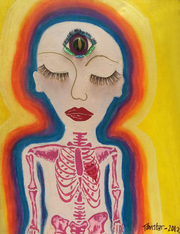 A drawing of a person with a third eye and skeleton visible through their skin in bright colours.