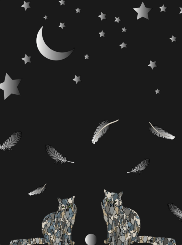 A digital drawing of two cats looking at the moon and stars.