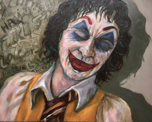 A painting of the Joker.