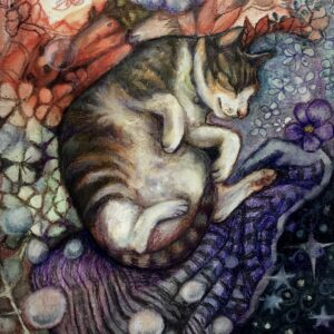 A painting of a cat snuggling on a bed.
