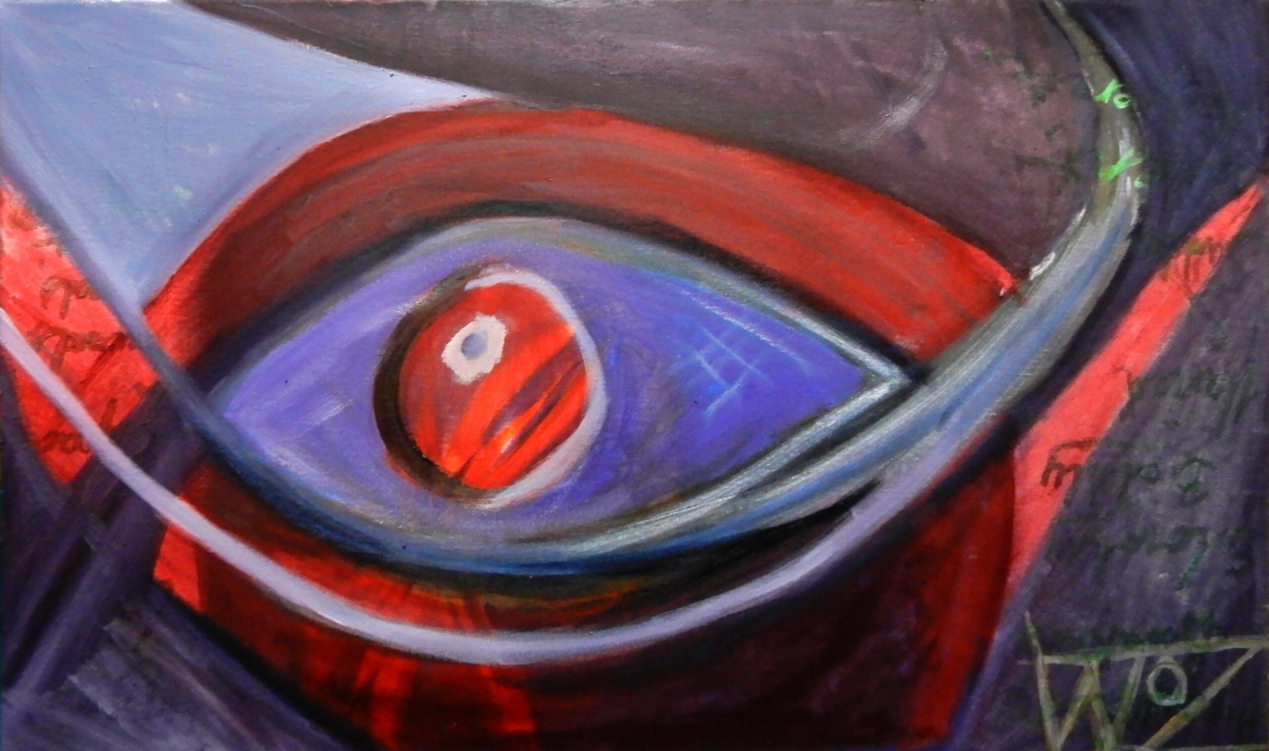 An abstract painting of an eye in tones of red and blue.