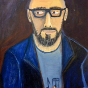 A painting of a person's portrait. The person is wearing glasses and a blue jacket.