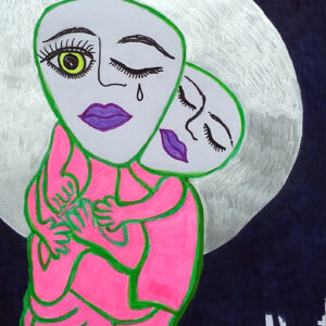 A drawing of two people in pink suits in front of a big full moon.