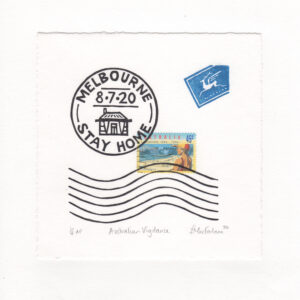 "A letter envelope with stamps that say ""Melbourne 8.7.20 Stay Home"" and ""Australia Live Saving 1894 - 1994""."