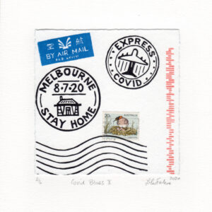 "A letter envelope with stamps that say ""Melbourne 8.7.20 Stay Home"" and ""Express Covid""."