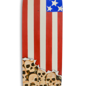 A skateboard with a portion of the USA flag painted on it and skulls under it.