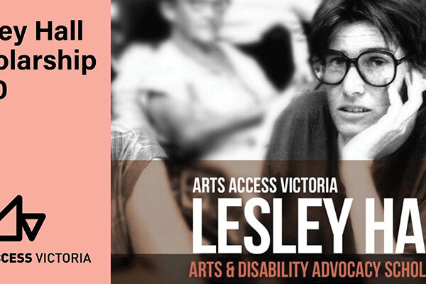 A photo of Lesley Hall and the Arts Access Victoria logo