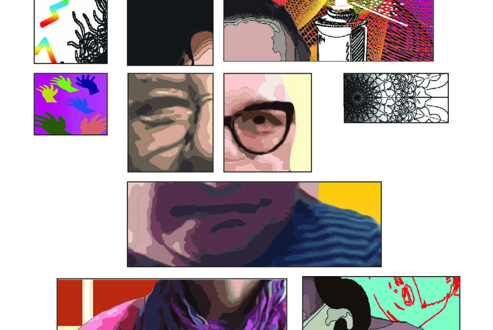 a digital collage of differnent parts of different peoples faces to make up one face.