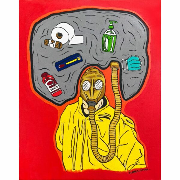a perosn in a yellow jumpsuit is wearing a gas mask. the air around them is filled with smoke, toilet paper, masks and sanitiser