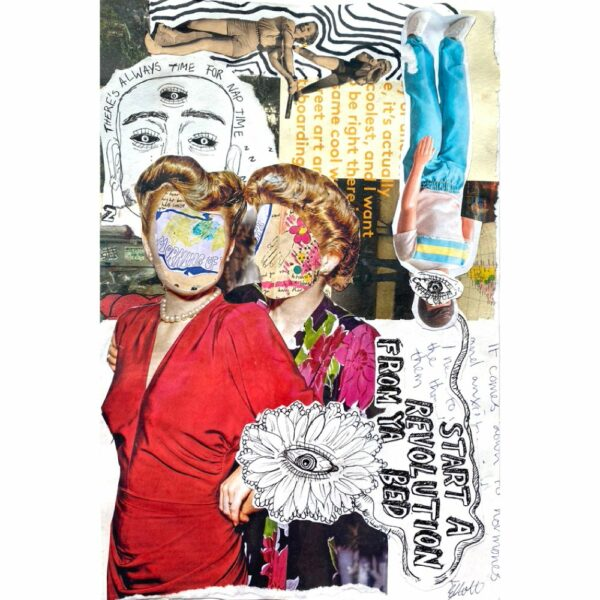 a collage of people with thier faces covered in floral drawings