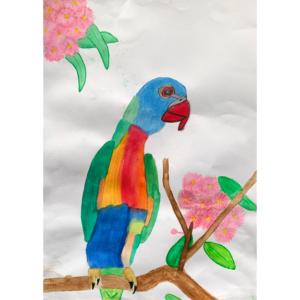 A rainbow lorikeet is sitting on a branch. watercolour.