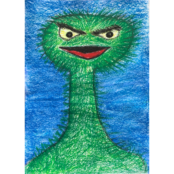 a long necked green monster with yellow eyes,