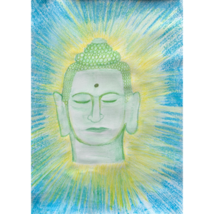 the head of a green buddha with blue and yellow light coming out behind the head.