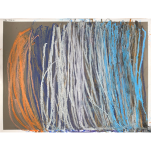 abstract line painting in whites, blues and orange.