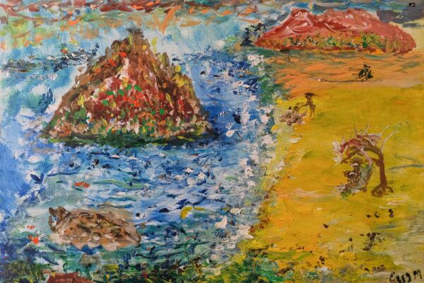 Two islands protrude from a bright blue sea, next to a vivid yellow beach. On the beach, a figure rests under an umbrella. The painting uses strong, expressive brushstrokes.